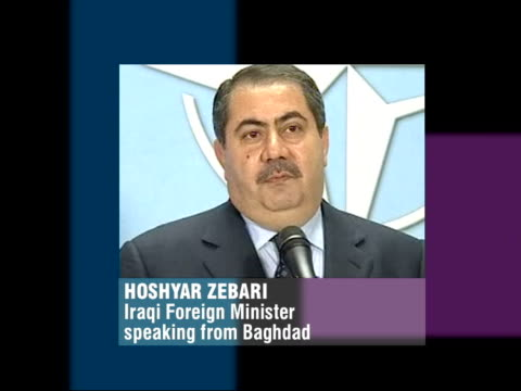Amnesty announced/Al Jazeera closed STILL Hoshyar Zebari PHONO interview SOT We have been successful in arresting 1000 of his followers govt is...