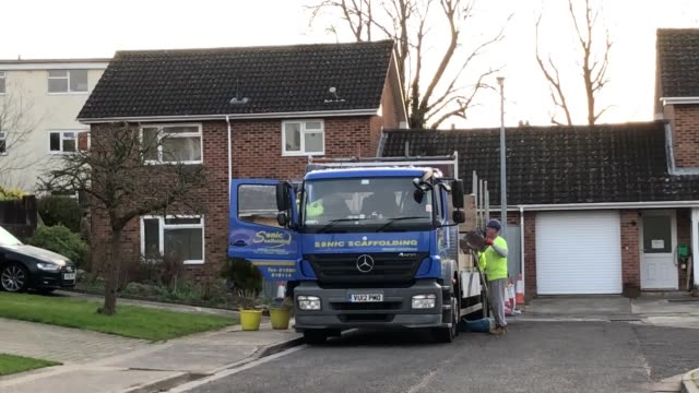 contractors outside the home of former russian spy sergei skripal in salisbury which is to be dismantled with the roof completely removed by military... - dismantling stock videos & royalty-free footage