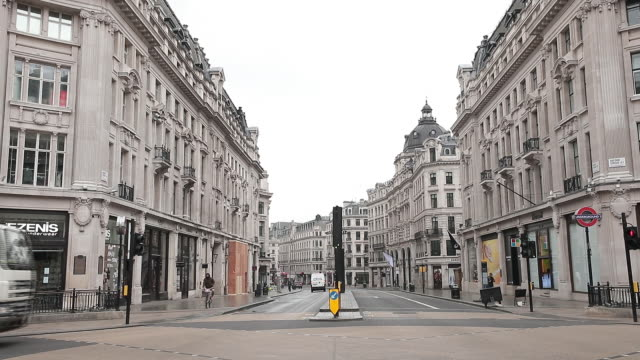 contral london's oxofrd street and regent street during lockdown for coronavirus pandemic in london england uk on monday march 20 2020 - lockdown video stock e b–roll
