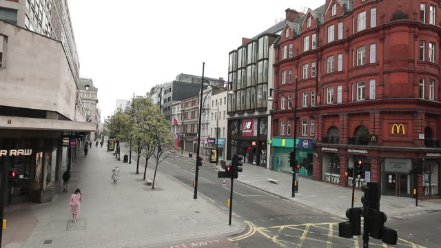 contral london's oxofrd street and regent street during lockdown for coronavirus pandemic, in london, england, uk, on monday, march 20, 2020. - city stock videos & royalty-free footage