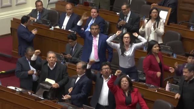 contrasting reactions of jubilation and unease from peruvian congressmen after peruvian president martin vizcarra dissolved parliament and called for... - martín vizcarra stock videos & royalty-free footage