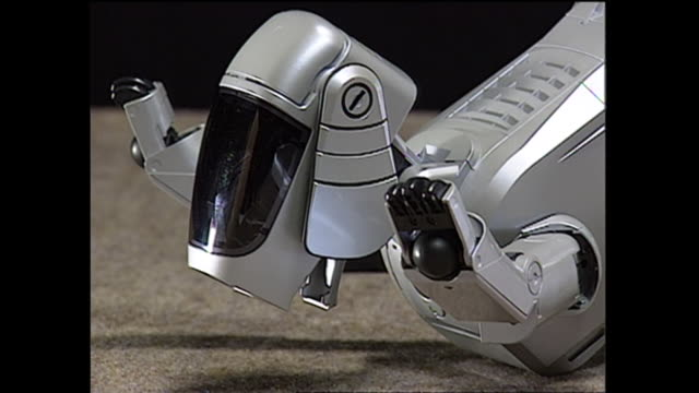 contributor approval required for all uses an 'adult' aibo robot hammily puts its head down - sony stock videos & royalty-free footage
