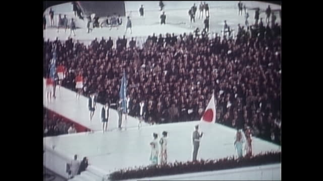 contributor approval required for all uses japanese women in kimono greet visitors at the opening ceremony in expo 70 / the japan world exposition... - world's fair stock videos & royalty-free footage