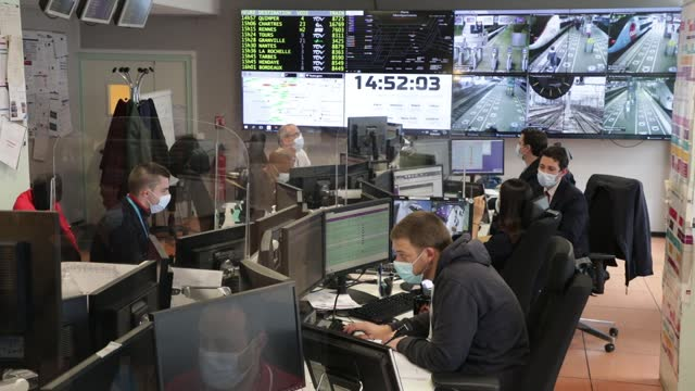 control agents organize traffic from the operational control room at the montparnasse station during the beginning of the ascension weekend on may... - rail transportation stock videos & royalty-free footage