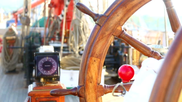 stockvideo's en b-roll-footage met control and navigation of a sailing ship - richting