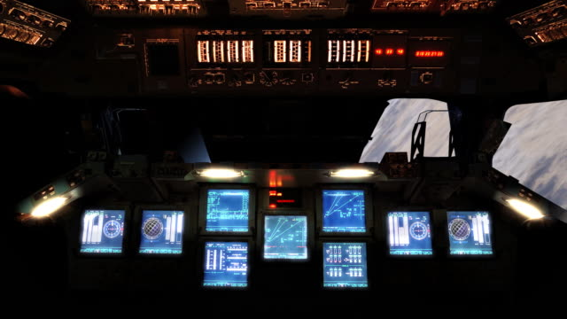 control center of space shuttle - vehicle interior stock videos & royalty-free footage