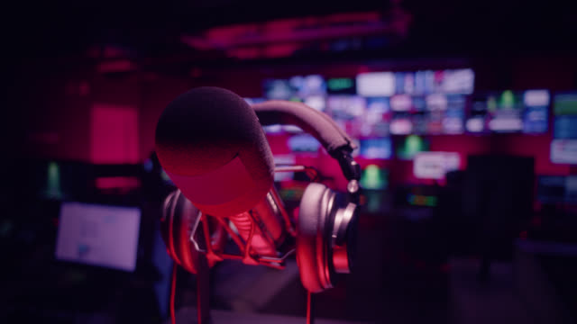 control room in television studio - broadcasting and radio broadcasting - microphone stock videos & royalty-free footage