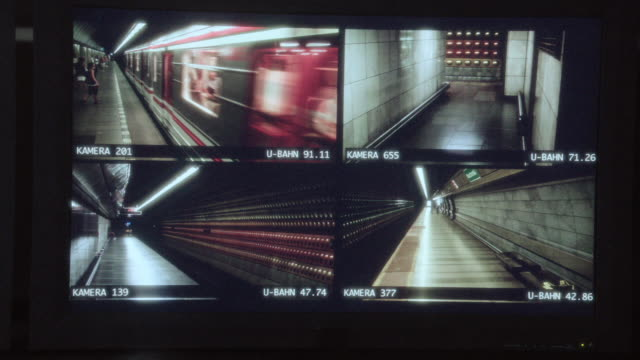 SPLIT SCREEN Control room video screen displaying four areas of camera surveillance in a train station