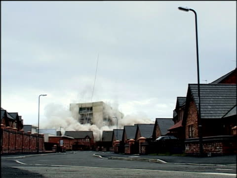 controlled demolition of derelict tower block of linosa close liverpool - demolished stock videos & royalty-free footage