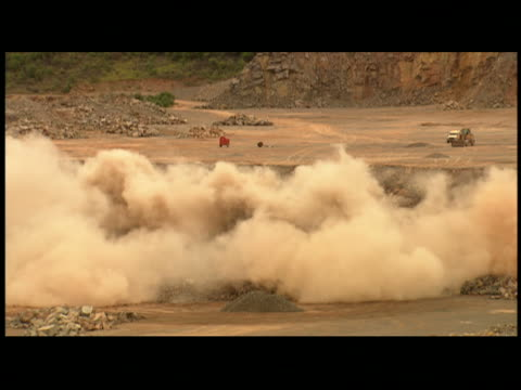 ms controlled explosion in quarry - letterbox format stock videos & royalty-free footage