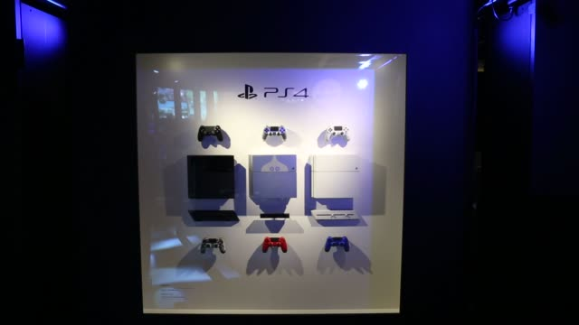 controller for sony computer entertainment inc.'s playstation 4 video game console is displayed at the tokyo game show 2014 in chiba, japan, sony... - game show stock videos & royalty-free footage