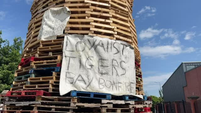 controversial bonfire built at interface in north belfast dividing loyalist tigers bay and nationalist new lodge. - graphical user interface stock videos & royalty-free footage