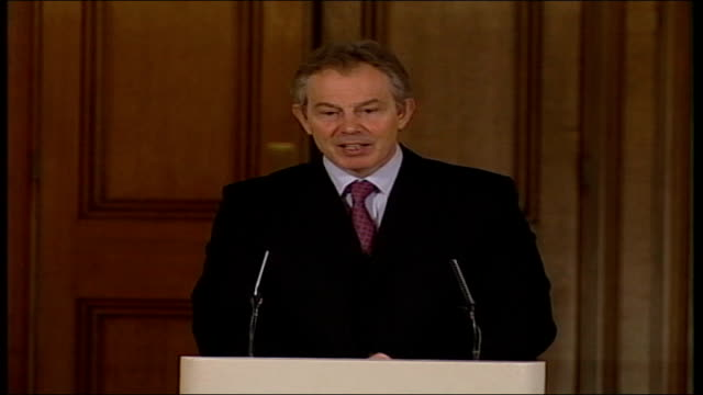 controversial education and inspections bill passes its first parliamentary test lib prime minister tony blair speaking to press conference sot i... - 10 downing street stock videos and b-roll footage