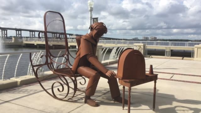 controversial metal sculptures in downtown fort myers florida - fort myer stock videos and b-roll footage
