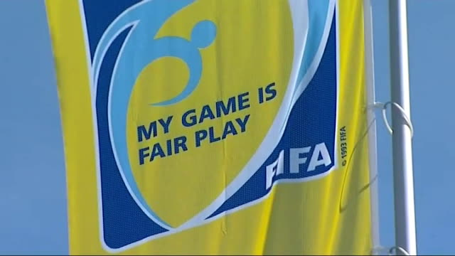 "blatter press conference; t29051104 ext fifa banner with the slogan ""my game is fair play"" - fifa stock videos & royalty-free footage"