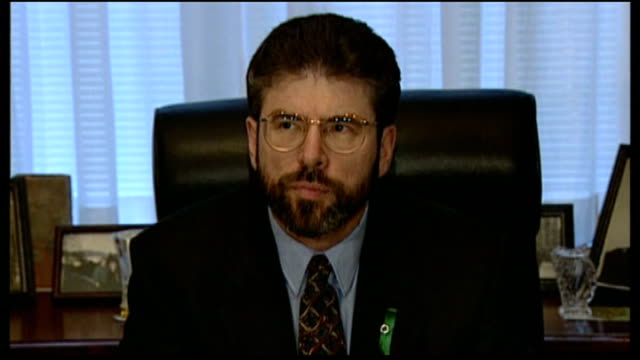 controversy over investigation into muslim extremism 1996 int congressman peter king speaking to gerry adams sot king posing next adams * * flash - gerry adams stock videos and b-roll footage