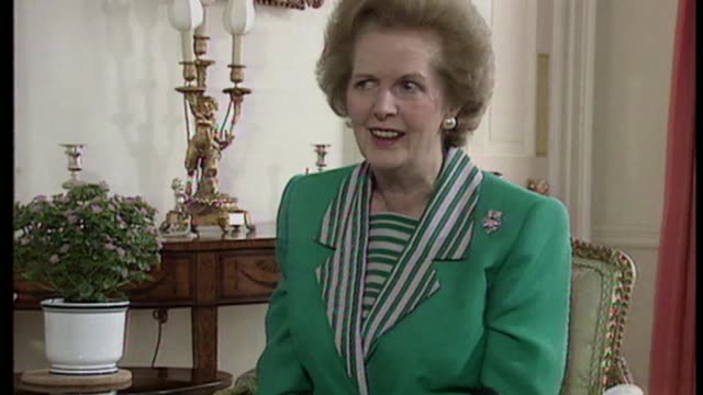 Controversy over Margaret Thatcher statue CR2757 / 10 Downig Street INT Margaret Thatcher MP interview SOT re handbag File Date Unknown EXT Thatcher...