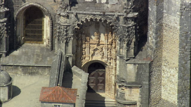 AERIAL MS Convent of the Order of Christ exterior detail / Tomar, Santarem, Portugal