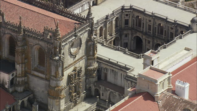 AERIAL MS Convent of the Order of Christ exterior / Tomar, Santarem, Portugal