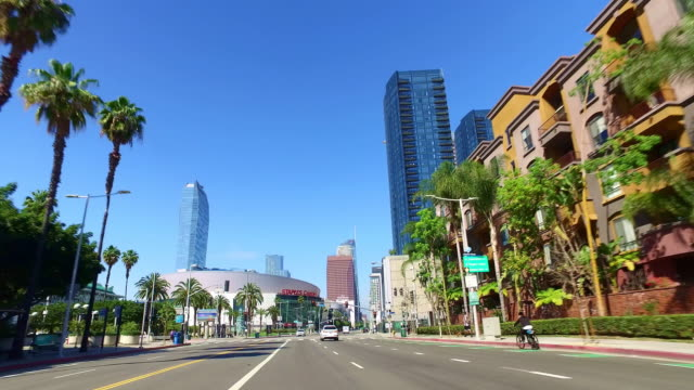 convention and staples center and los angeles downtown skyline, california, 4k - staples centre stock videos & royalty-free footage