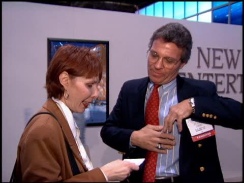 vídeos de stock e filmes b-roll de convention at the natpe convention on january 25, 1995. - natpe convention