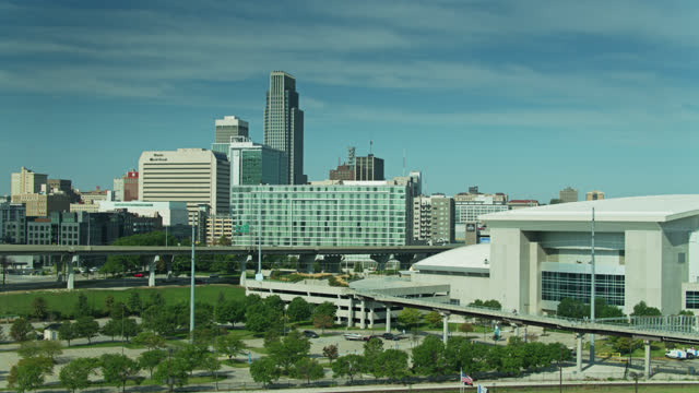 convention center on the edge of downtown omaha - aerial - auditorium stock videos & royalty-free footage