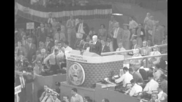 convention chairman and speaker of the us house sam rayburn at podium at 1952 democratic national convention says delegations from sc va and la have... - sam rayburn video stock e b–roll