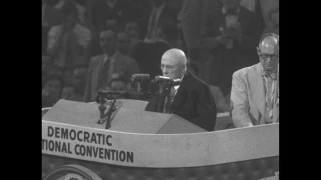 convention chairman sam rayburn speaker of the us house of representatives on lectern calling for vote and vote is given during proceedings at the... - sam rayburn video stock e b–roll