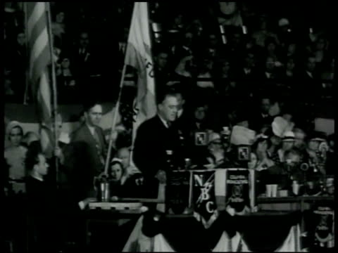 stockvideo's en b-roll-footage met convention. fdr giving partial nomination address, 'let us all here assembled constitute ourselves prophets of a new order...this is a call to arms.... - 1936