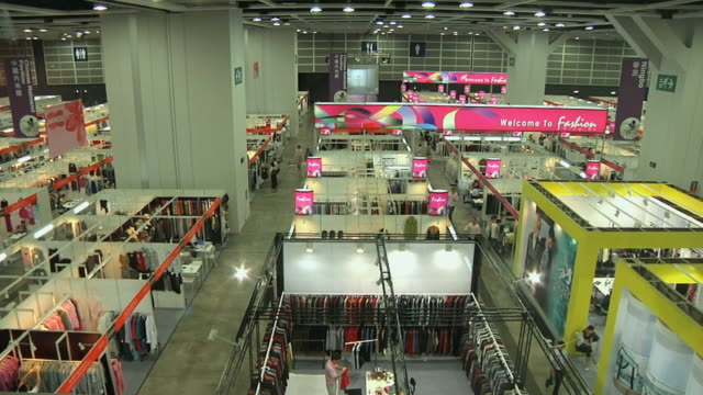 ws ha convention floor of clothing sourcing show / hong kong, china - convention center stock videos & royalty-free footage
