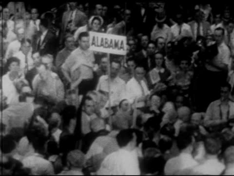 convention floor w/ delegates from 'alabama' holding sign unidentified male delegate sot 'without hatred without anger to walk out of this convention... - menschenrechte stock-videos und b-roll-filmmaterial