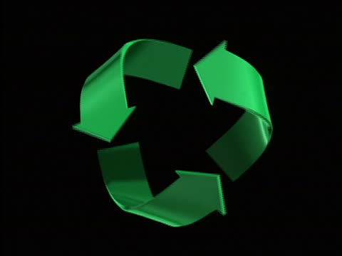 CGI 3 converging arrows spinning against black background + turning from green to blue / recycling symbol