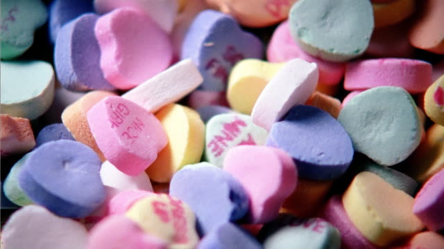 Conversation hearts, full frame