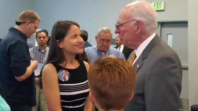 vidéos et rushes de a conversation with rafael cruz campaign event in fresno video of rafael cruz speaking onstage and afterwards with ted cruz supporters - fresno