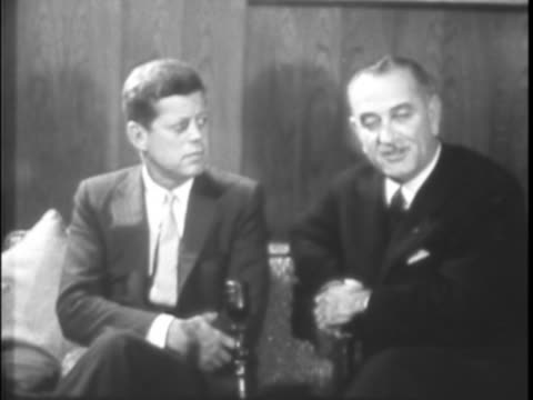 A conversational campaign telecast for the 1960 presidential election features JFK and LBJ speaking to the camera urging Texans to support the...
