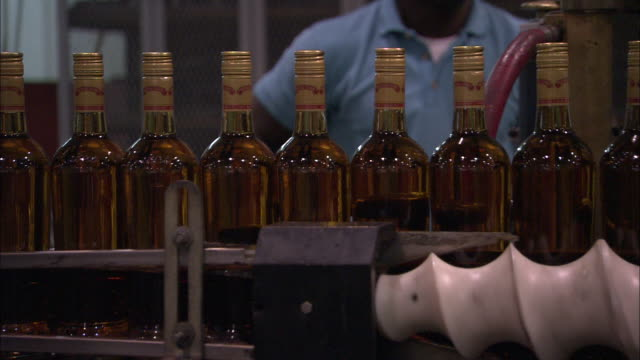 a conveyor moves corked bottles of rum. - rum stock videos and b-roll footage