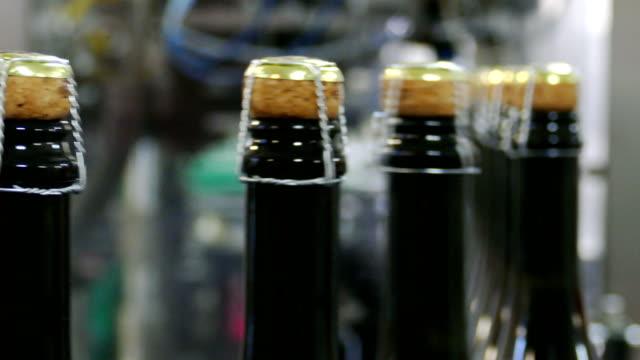 förderband mit flaschen champagner - sektkorken stock-videos und b-roll-filmmaterial