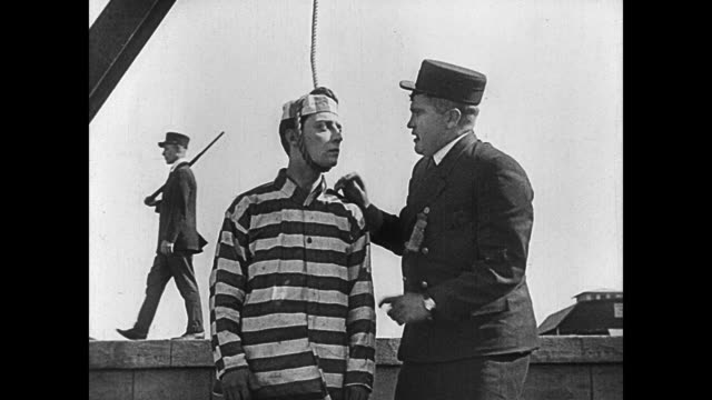 1920 a convict's (buster keaton) hanging goes awry - hanging stock videos & royalty-free footage