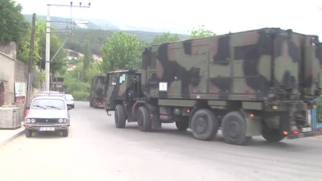 A convoy of Italian Patriot Unit consists of 36 military truck arrives at Gazi Barracks of southeast province Kahramanmaras Turkey on June 06 2016...
