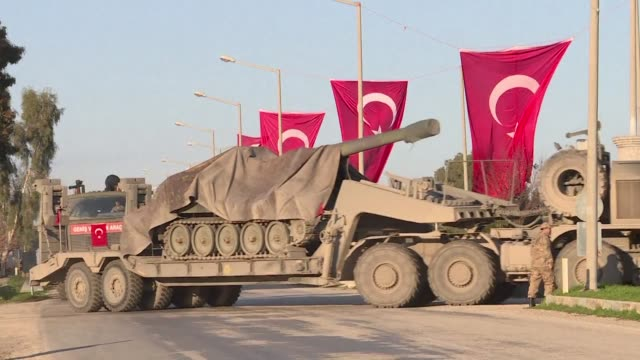 a convoy of turkish howitzers heads towards the syrian border as part of turkeys operation against a kurdish militia - artillery stock videos & royalty-free footage