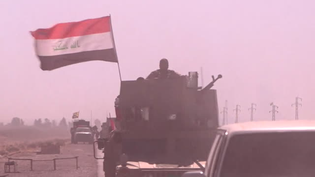 convoys of iraqi army vehicles heading towards kirkuk - isil conflict stock videos & royalty-free footage