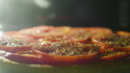 Cook a vagen pizza in a oven, timelapse