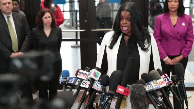 Cook County State's Attorney speaks following a bond hearing for RB singer R Kelly at the Leighton Criminal Court Building on February 23 2019 in...