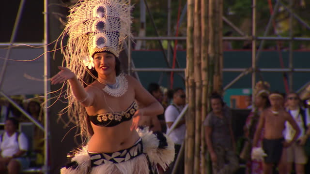 Cook Islands delegation singing and dancer performing at opening ceremony 12th Pacific Arts Festival in Guam