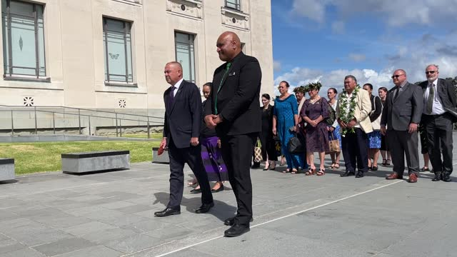 cook islands prime minister mark brown is welcomed with a traditional maori powhiri at the auckland war memorial museum on march 26, 2021 in... - pacific islands stock videos & royalty-free footage