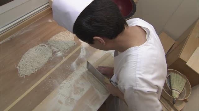 ms ha cook preparing soba noodles, tokyo, japan - soba stock videos & royalty-free footage
