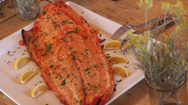 cooked salmon on plate cu - wiese stock videos & royalty-free footage