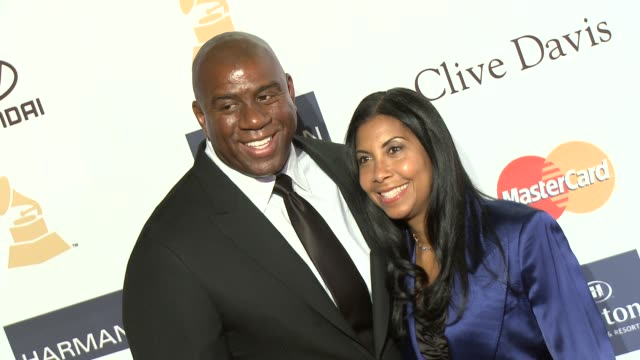 cookie johnson, earvin magic johnson at pre-grammy gala & salute to industry icons with clive davis honoring antonio l.a. reid 2/9/2013 in beverly... - マジック・ジョンソン点の映像素材/bロール