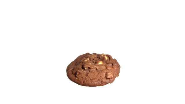 cookie with chocolate spinning and rotating isolated on white background food suspended in the air - crumb stock videos and b-roll footage