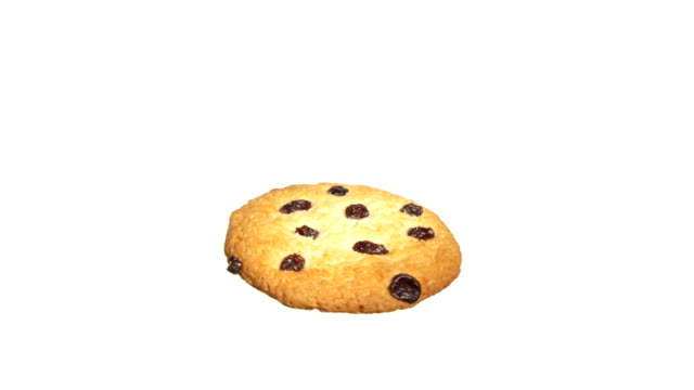 cookie with raisin spinning and rotating isolated on white background food suspended in the air - crumb stock videos and b-roll footage